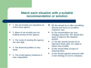 Match each situation with a suitable recommendation or solution 1. We are loo