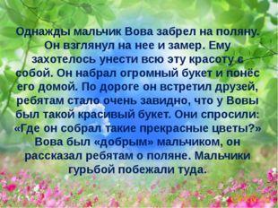 Однажды мальчик Вова забрел на поляну. Он взглянул на нее и замер. Ему захоте