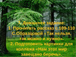 7. Домашнее задание: 1. Прочитать рассказ с.109-110 С.Образцовой «Так нельзя,