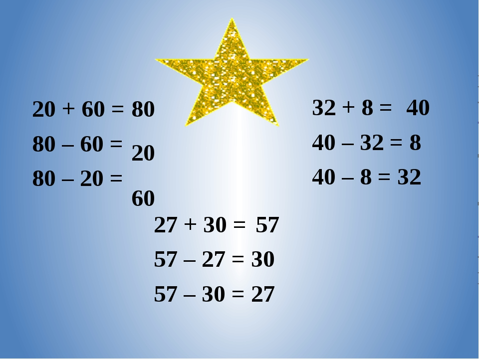20 + 60 = 80 80 – 60 = 80 – 20 = 27 + 30 = 57 – 27 = 30 57 – 30 = 27 32 + 8 =...