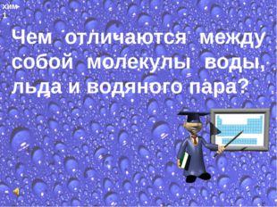 хим-1 Чем отличаются между собой молекулы воды, льда и водяного пара?