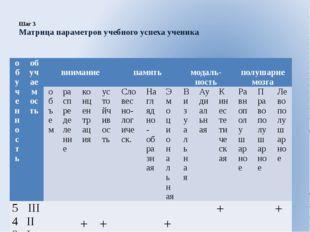 Шаг 3 Матрица параметров учебного успеха ученика