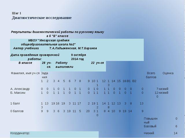 Шаг 1   Диагностическое исследование