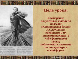 Цель урока: повторение полученных знаний по повести «Капитанская дочка» А.С.П