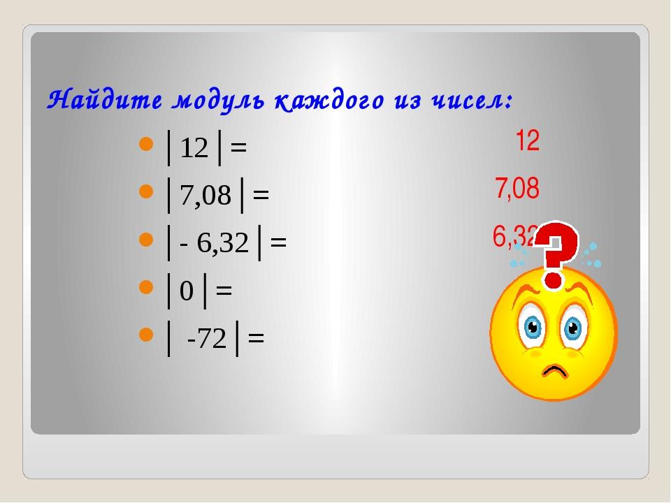 Найдите модуль каждого из чисел: │12│= │7,08│= │- 6,32│= │0│= │ -72│=