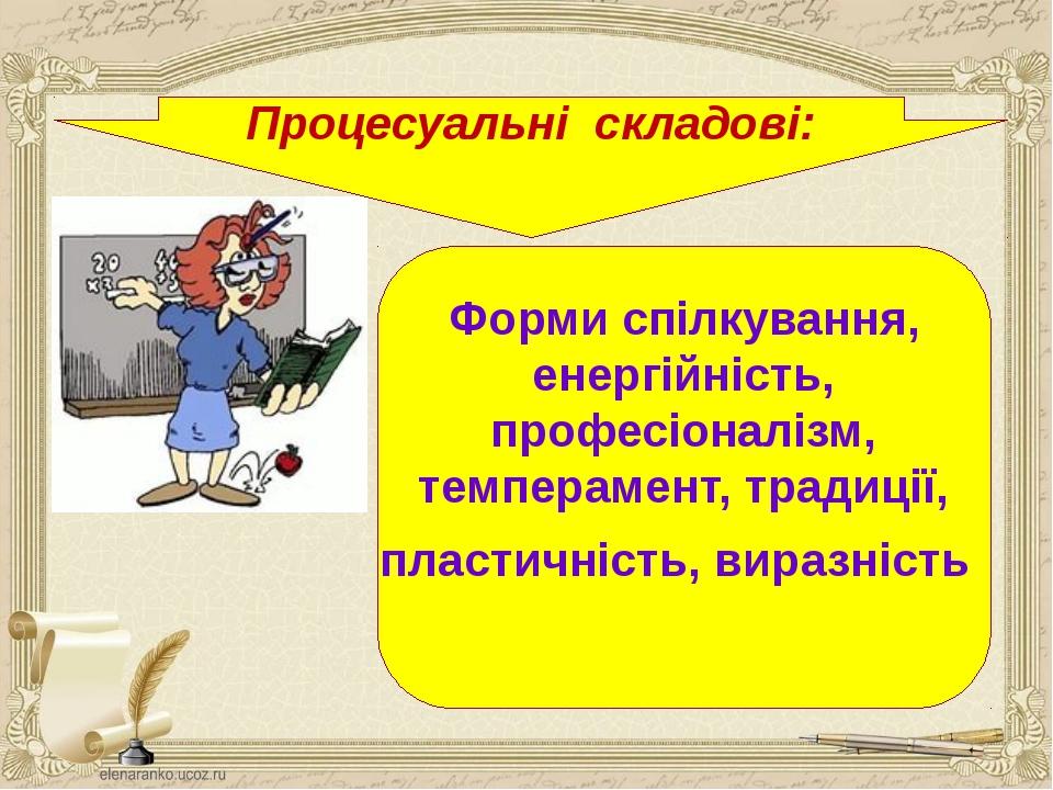 Процесуальні складові: Форми спілкування, енергійність, професіоналізм, темпе...