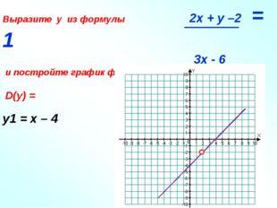 Выразите у из формулы 2x + y –2 = 1 3x - 6 и постройте график функции D(y) =
