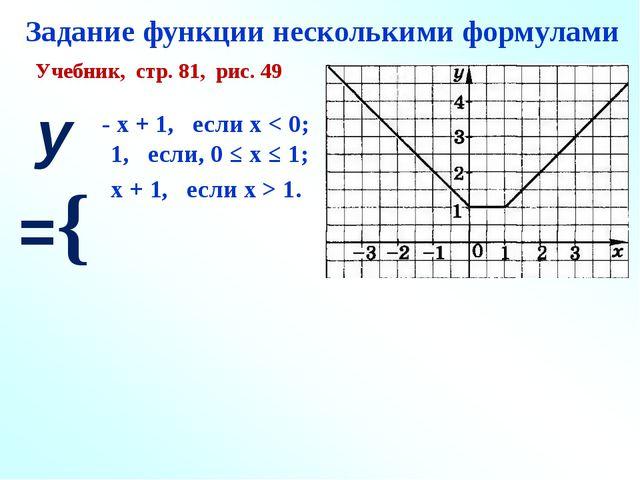 Задание функции несколькими формулами Учебник, стр. 81, рис. 49 у ={ - х + 1...