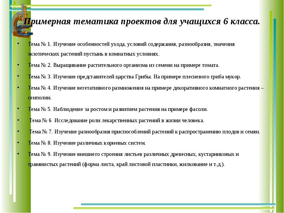 Примерная тематика проектов для учащихся 6 класса. Тема № 1. Изучение особенн...