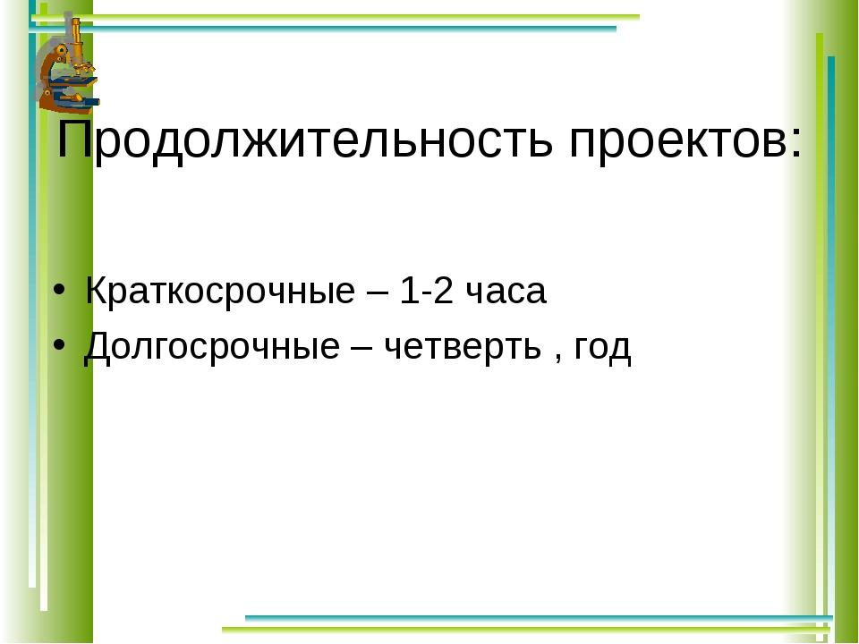Продолжительность проектов: Краткосрочные – 1-2 часа Долгосрочные – четверть...