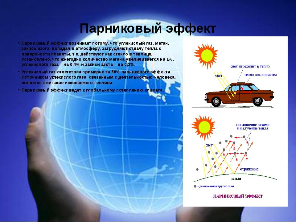 Парниковый эффект Парниковый эффект возникает потому, что углекислый газ, мет...