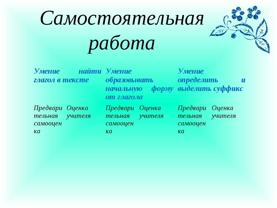 Самостоятельная работа Умение найти глагол в текстеУмение образовывать начал...