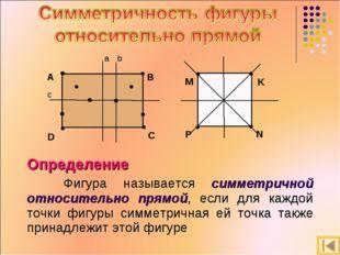 Определение Фигура называется симметричной относительно прямой, если для каж