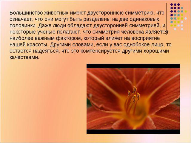 Большинство животных имеют двустороннюю симметрию, что означает, что они могу...