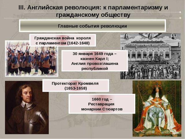 III. Английская революция: к парламентаризму и гражданскому обществу Главные...