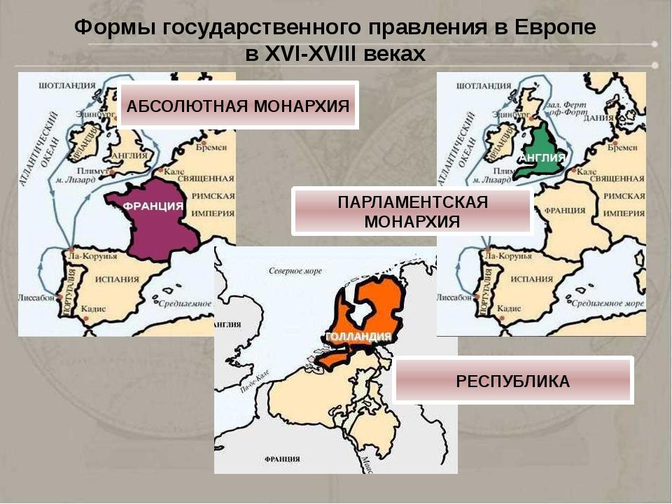 Формы государственного правления в Европе в XVI-XVIII веках АБСОЛЮТНАЯ МОНАРХ...