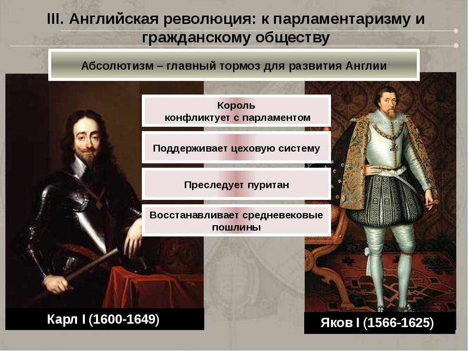 III. Английская революция: к парламентаризму и гражданскому обществу Яков I (...