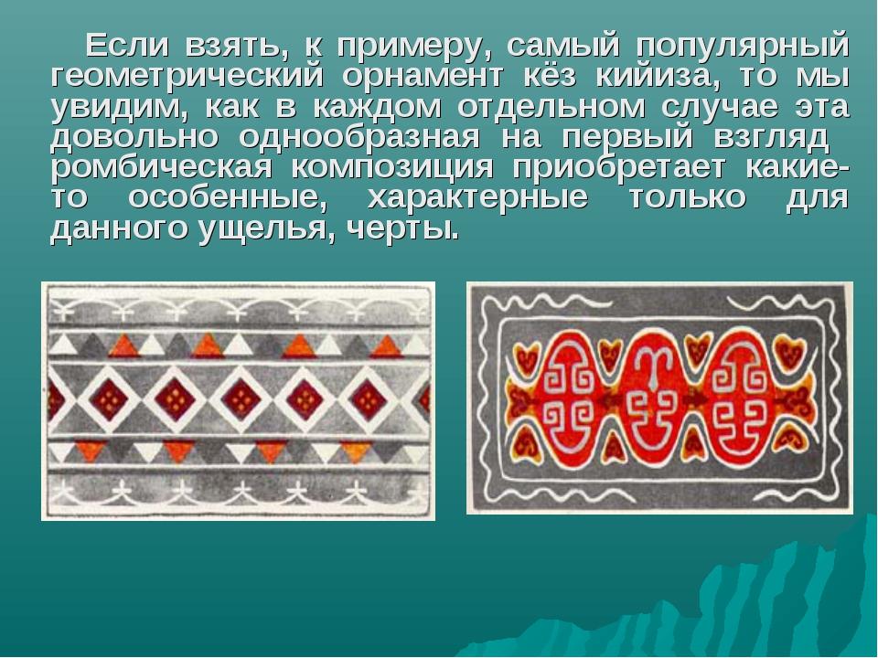 Если взять, к примеру, самый популярный геометрический орнамент кёз кийиза, т...