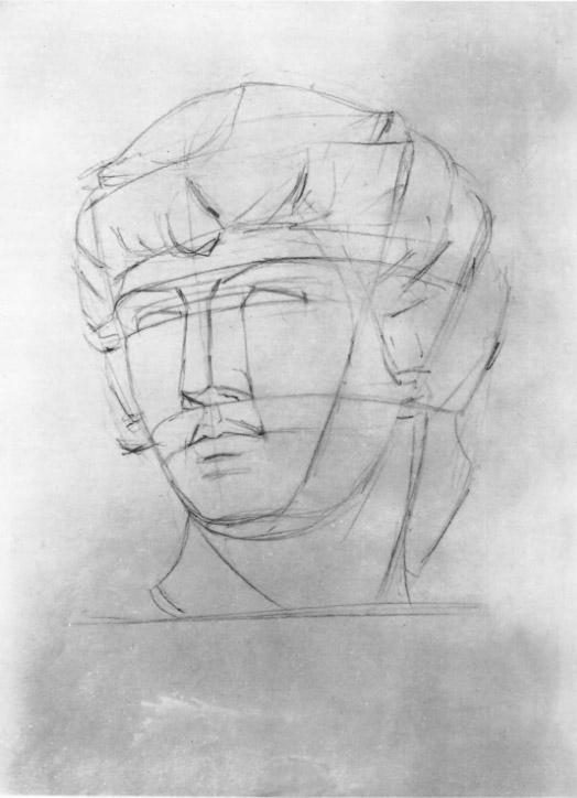 Второй этап работы над рисунком головы