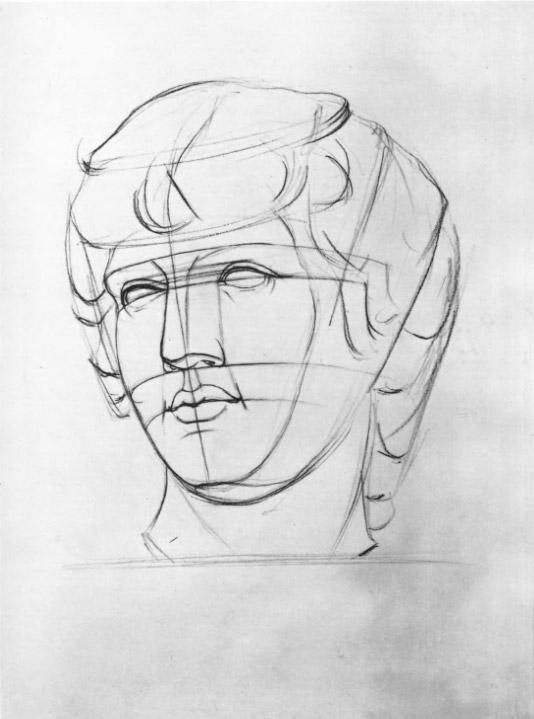 Третий этап работы над рисунком головы