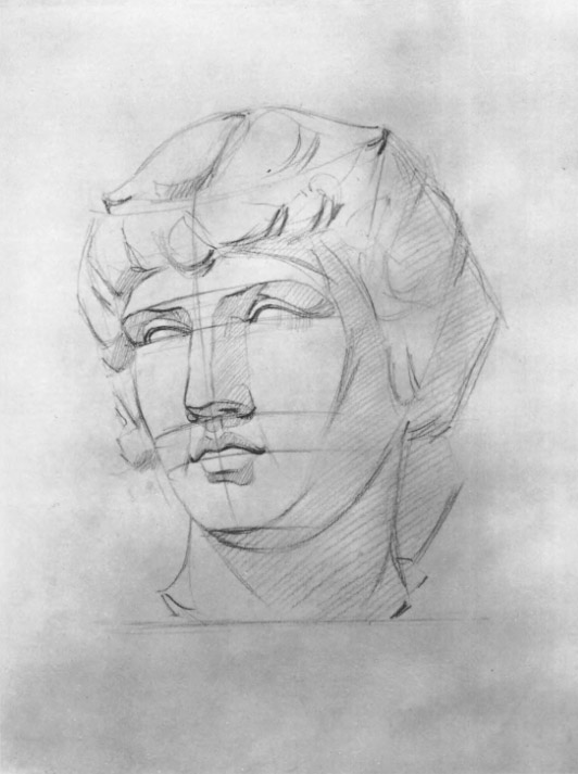 Четвёртый этап работы над рисунком головы