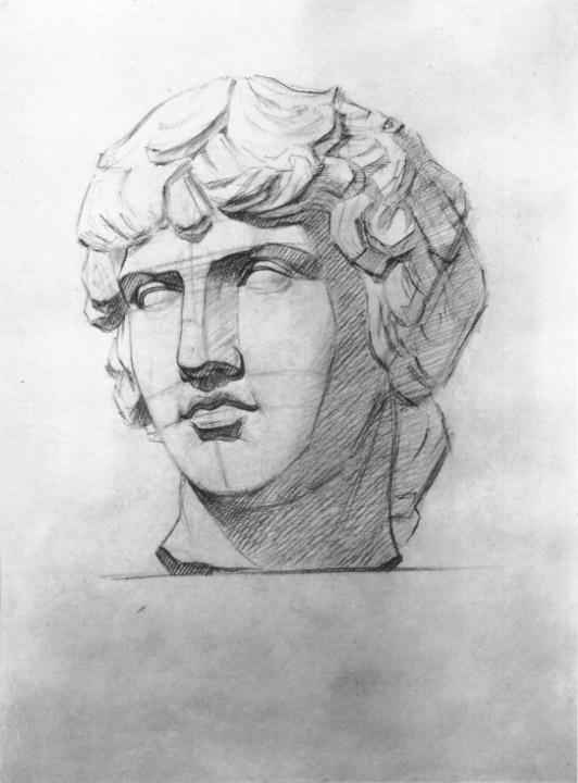 Пятый этап работы над рисунком головы