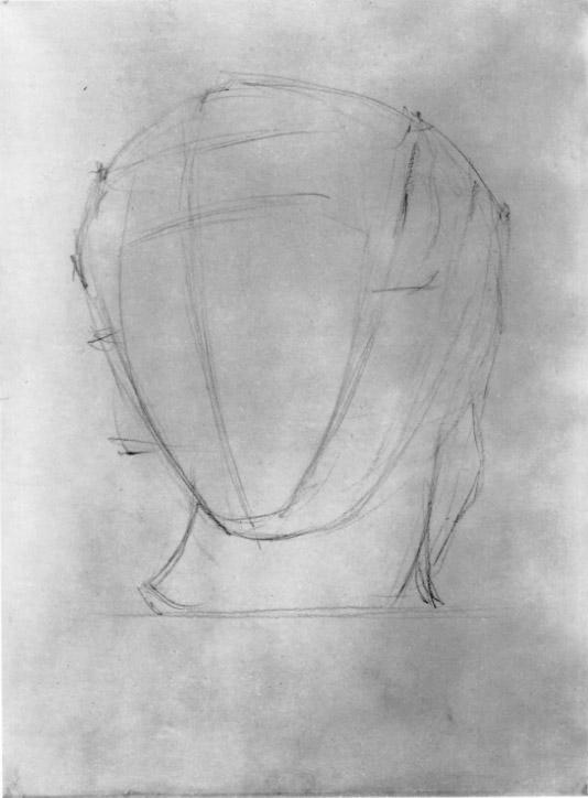 Первый этап работы над рисунком головы