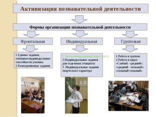Активизация познавательной деятельности Формы организации познавательной деят