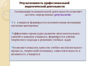 Результативность профессиональной педагогической деятельности Активизация поз