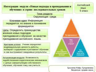 Интеграция модуля «Новые подходы в преподавании и обучении» в серию последова