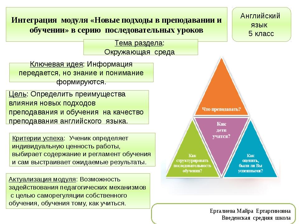 Интеграция модуля «Новые подходы в преподавании и обучении» в серию последова...
