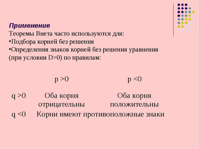 Применение Теоремы Виета часто используются для: Подбора корней без решения О...