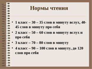 Нормы чтения 1 класс – 30 – 35 слов в минуту вслух, 40-45 слов в минуту про с