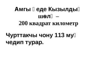 Амгы үеде Кызылдың шѳлү – 200 квадрат километр Чурттакчы чону 113 муң чедип т