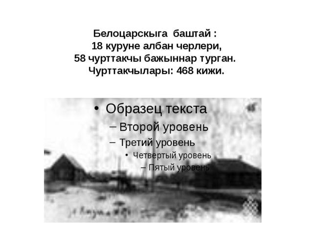 Белоцарскыга баштай : 18 куруне албан черлери, 58 чурттакчы бажыннар турган....
