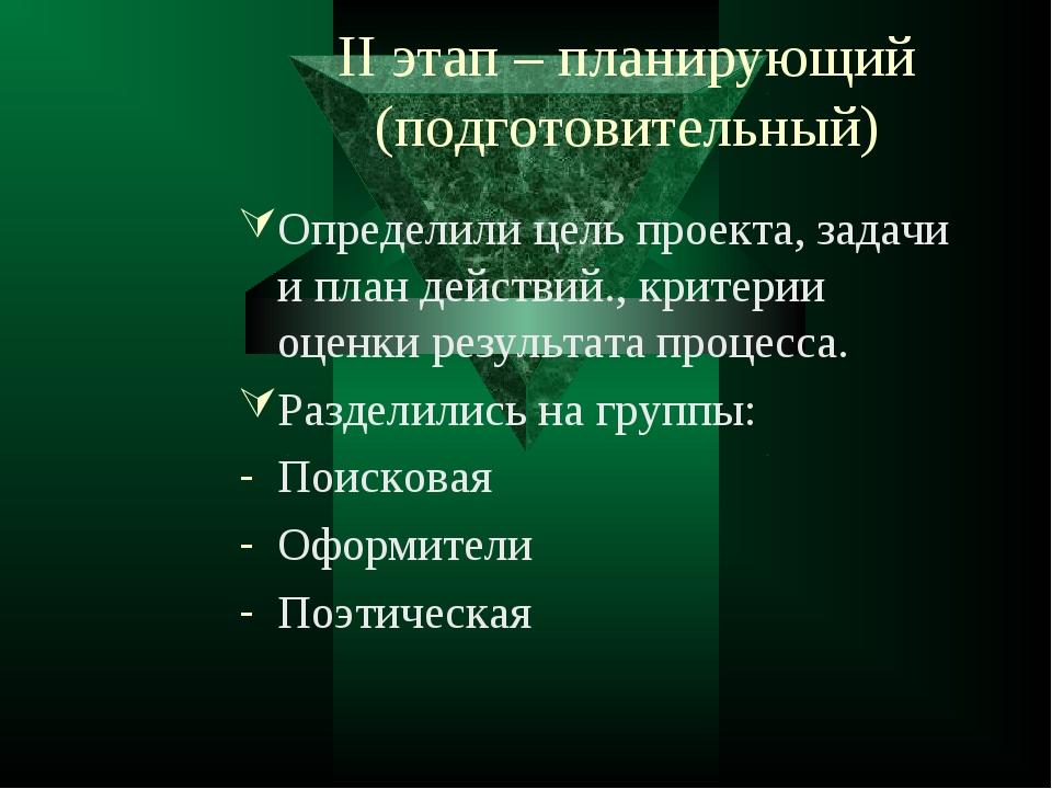 II этап – планирующий (подготовительный) Определили цель проекта, задачи и пл...