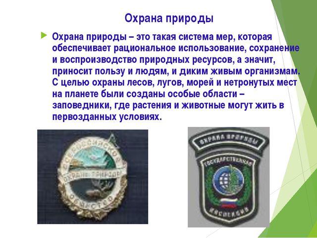Охрана природы Охрана природы – это такая система мер, которая обеспечивает р...