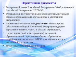 Нормативные документы Федеральный закон Российской Федерации «Об образовании