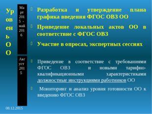 Уровень ОО Март 2015 - май 2016 Август 2015 Разработка и утверждение плана гр