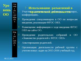 Сентябрь 2015 г.-сентябрь2016 Март 2015 - май 2016 Использование разъяснений