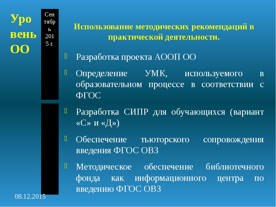 Уровень ОО Использование методических рекомендаций в практической деятельност...
