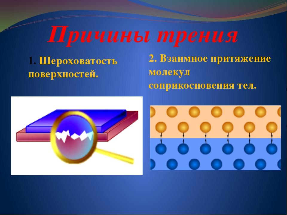 Причины трения Шероховатость поверхностей. 2. Взаимное притяжение молекул соп...