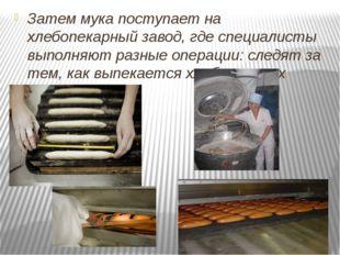 Затем мука поступает на хлебопекарный завод, где специалисты выполняют разны