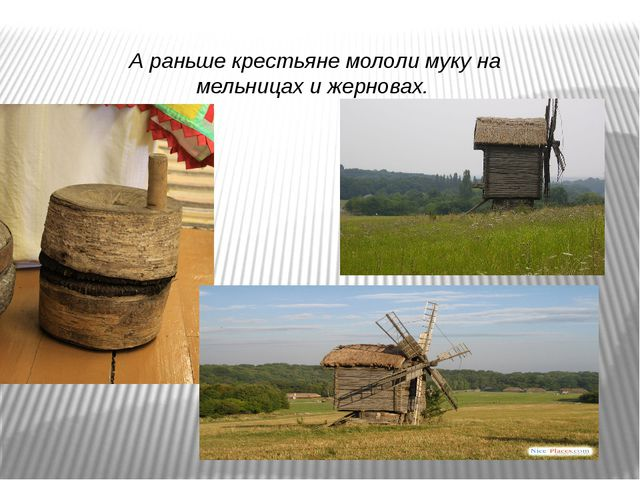 А раньше крестьяне мололи муку на мельницах и жерновах.