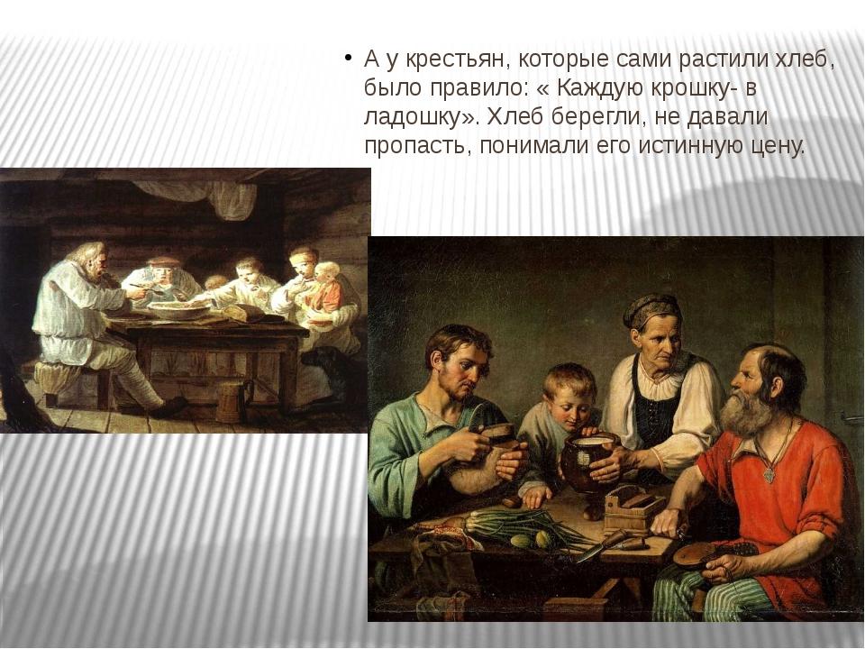 А у крестьян, которые сами растили хлеб, было правило: « Каждую крошку- в ла...