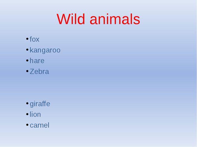 Wild animals fox kangaroo hare Zebra giraffe lion camel