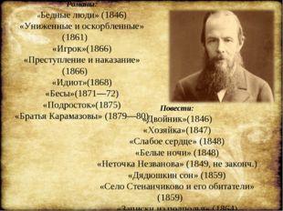 Романы: «Бедные люди» (1846) «Униженные и оскорбленные» (1861) «Игрок»(1866)