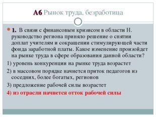 А6 Рынок труда, безработица 1. В связи с финансовым кризисом в области Н. рук