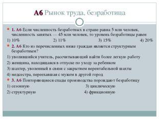 А6 Рынок труда, безработица 1. А6 Если численность безработных в стране равна