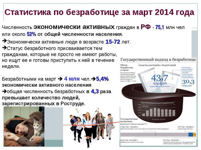 Статистика по безработице за март 2014 года Численность экономически активных...